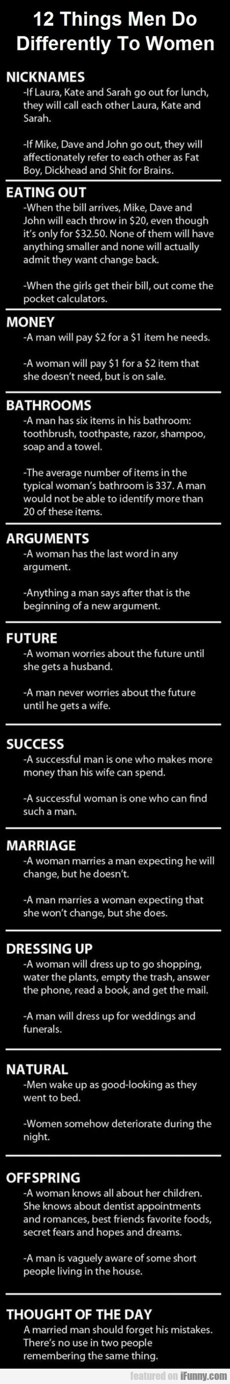 12 Things Men Do Differently To Women