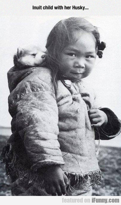 Inuit Child With Her Husky