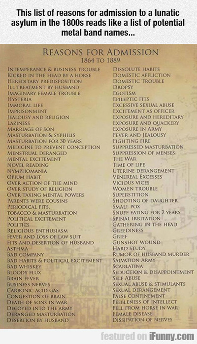 The List Of Reasons For Admission To A Lunatic...