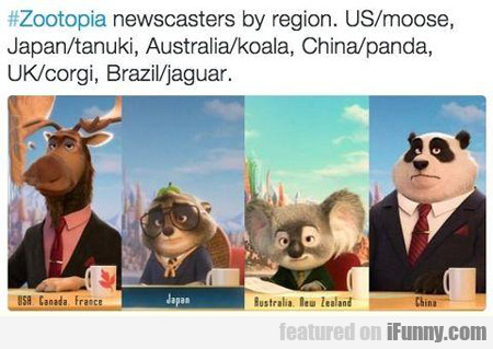 #zootopia Newscasters By Region...