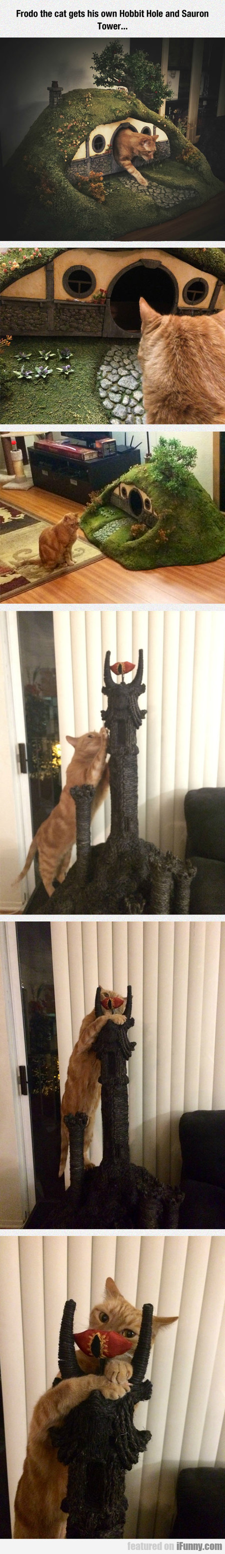 Cat Gets His Own Hobbit Hole And Sauron Tower...