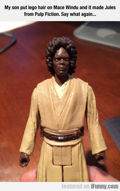 my son put lego hair on mace windu...