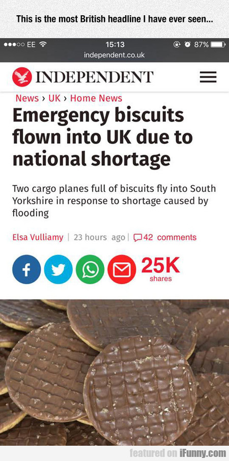 Emergency Biscuits Flown Into Uk