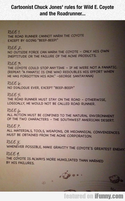 Cartoonist Chuck Jones Rules For Wild