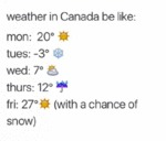 Weather In Canada Be Like...