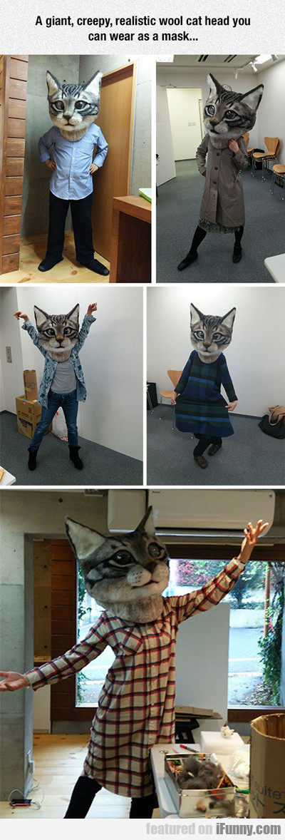 A Giant, Creepy, Realistic Wool Cat Mask You...