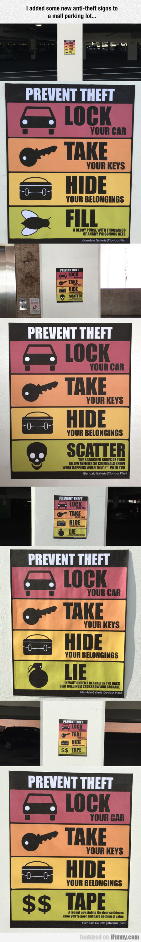 I Added Some New Antitheft Signs To A Mall Parking