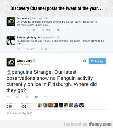 Discovery Channel Posts The Tweet Of The Year...