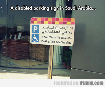 a disabled parking sign....