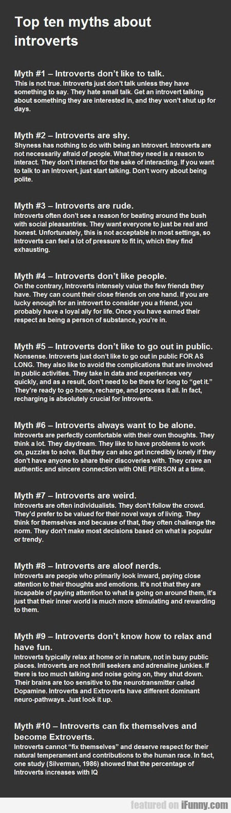 Top Ten Myths About Introverts