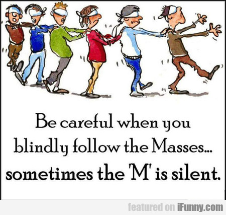 be careful when you blindly follow the masses