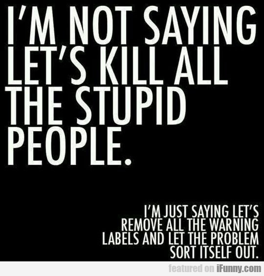 I'm Not Saying Let's Kill All The Stupid People