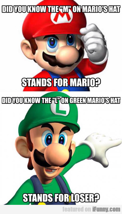 m stands for mario...