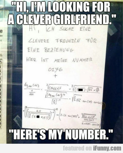 Hi, I'm Looking For A Clever Girlfriend...