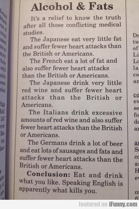 Alcohol And Fats, The Truth