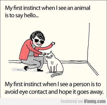my first instinct when i see an animal is...