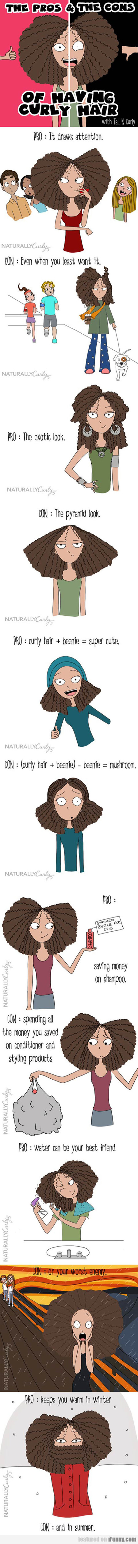 the pros and the cons of having curly hair
