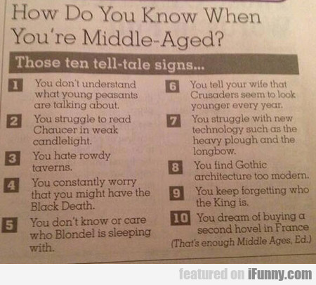 how do you know when you're middle aged?