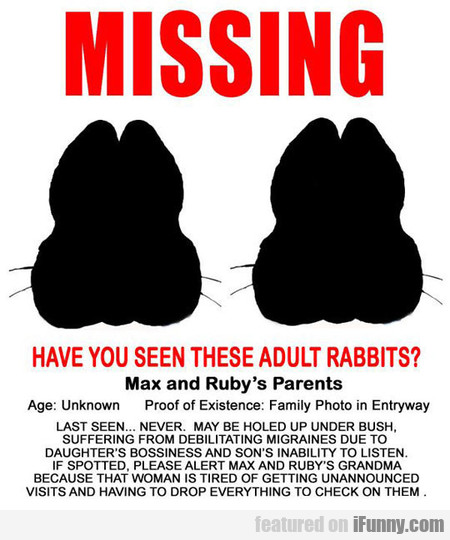 Have You Seen These Adult Rabbits?