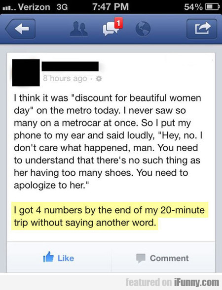 I Think It Was Discount For Beautiful Women