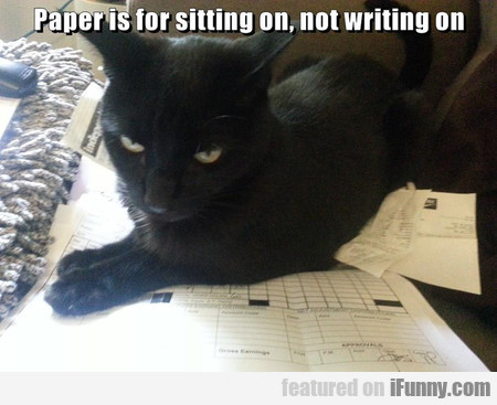 paper is for sitting on