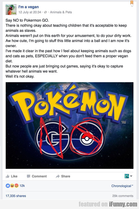Say No To Pokermon Go