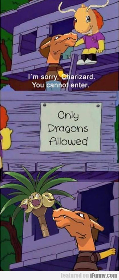 i'm sorry charizard, you cannot enter...