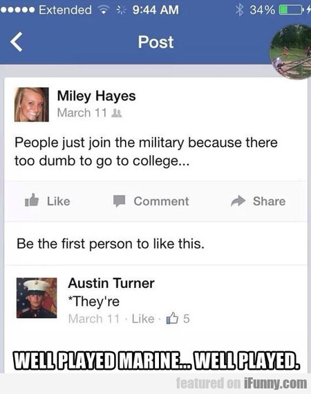 People Just Join The Military Because There...