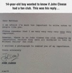 14-year-old Boy Wanted To Know If John Cleese...