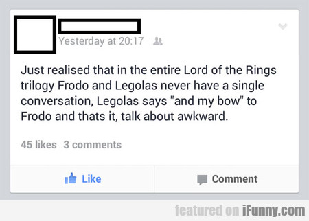 Just Realised That In The Entire Lord Of The Rings