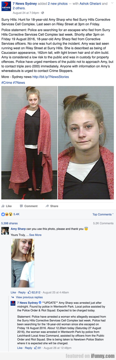 Surry Hills - Hunt for 18-year-old Amy Sharp who..