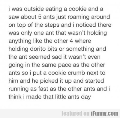 I Was Outside Eating A Cookie...