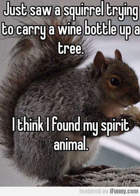just saw a squirrel trying to carry a wine bottle