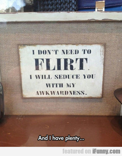 I Don't Need To Flirt - I Will Seduce You With...