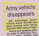 Army Vehicle Missing...