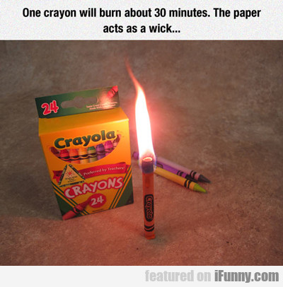 One Crayon Will Burn For 30 Min...