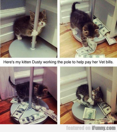 Dusty working the pole to help pay her bills