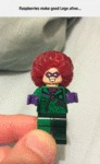Raspberries Make Good Afros For Legos...