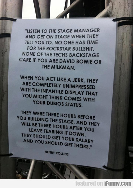 Listen To The Stage Manager