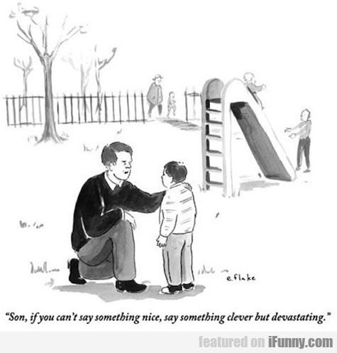 Son, if you can't say something nice, say...