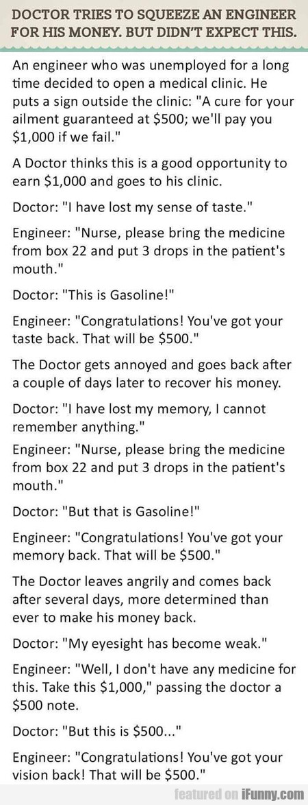 Doctor Tries To Squeeze An Engineer