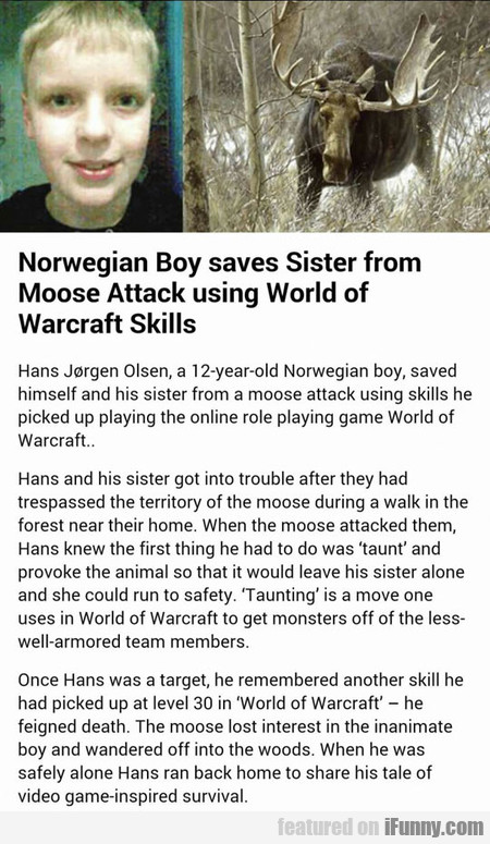 Boy Saves Sister From Moose Attack Using Wow Skill