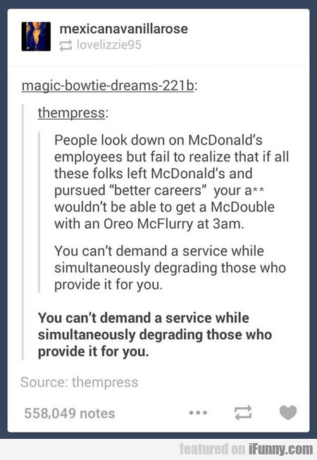 People Look Down On Mcdonald's Employees