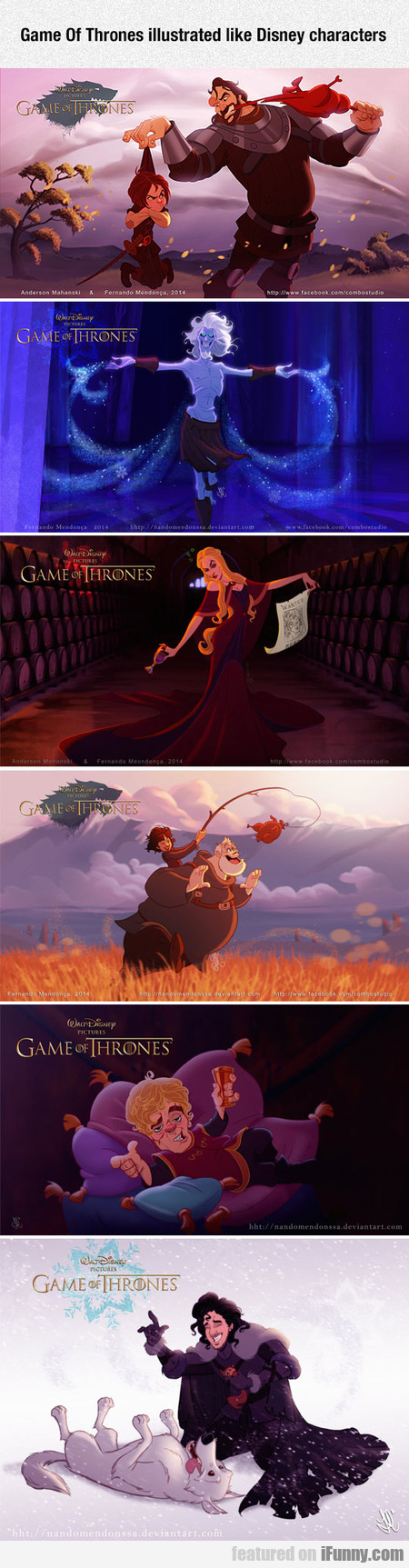 Game Of Thrones Illustrated Like Disney Characters