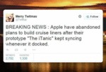Apple Have Abandoned Plans To Build Cruise Liners