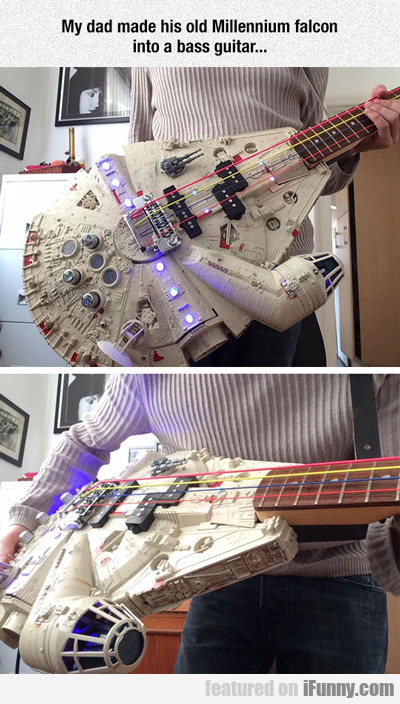 my dad made a Millenium Falcon bass...