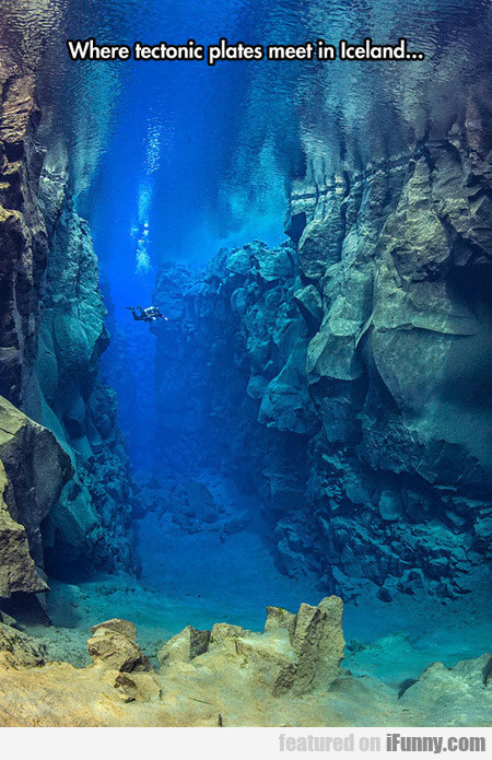 Where Tectonic Plates Meet In Iceland...