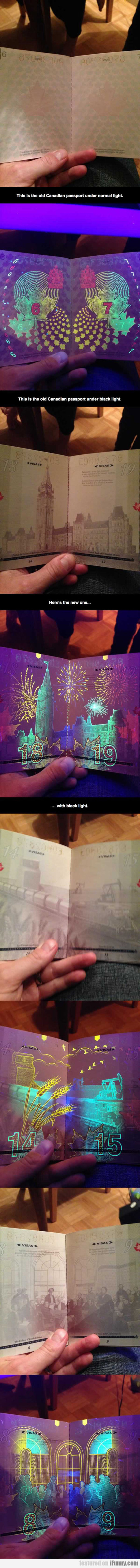 Canadian Passport Under Blacklight