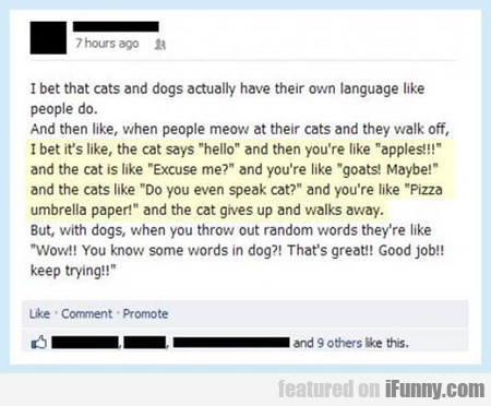I Bet That Cats And Dogs Actually Have Their Own..