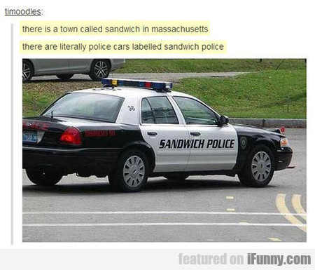 Police Cars Labelled Sandwich Police